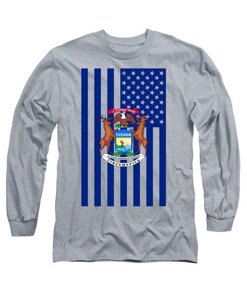 Michigan State Flag Graphic Usa Styling Long Sleeve T-Shirt by Garaga Designs