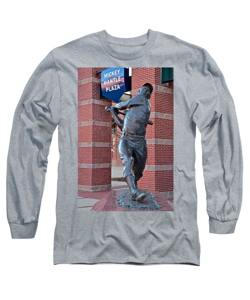 Mickey Mantle Plaza Long Sleeve T-Shirt by Frozen in Time Fine Art Photography