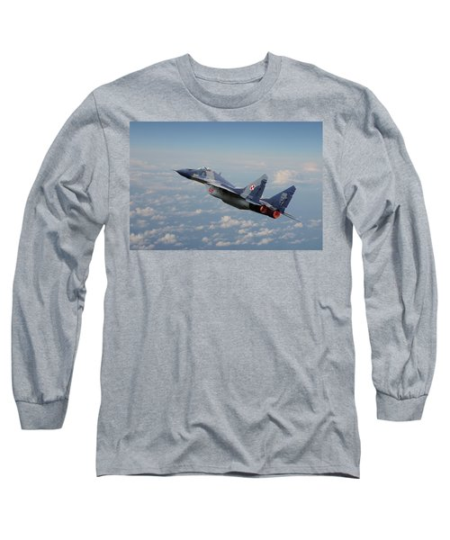 Long Sleeve T-Shirt featuring the digital art Mig 29 - Polish Fulcrum Dedication by Pat Speirs
