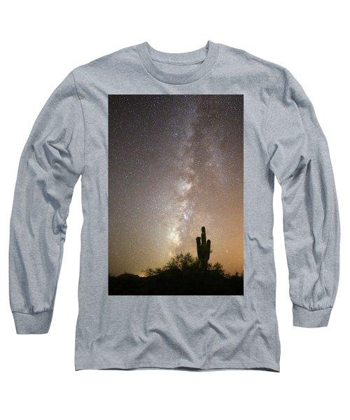 Milky Way And Saguaro Cactus Long Sleeve T-Shirt