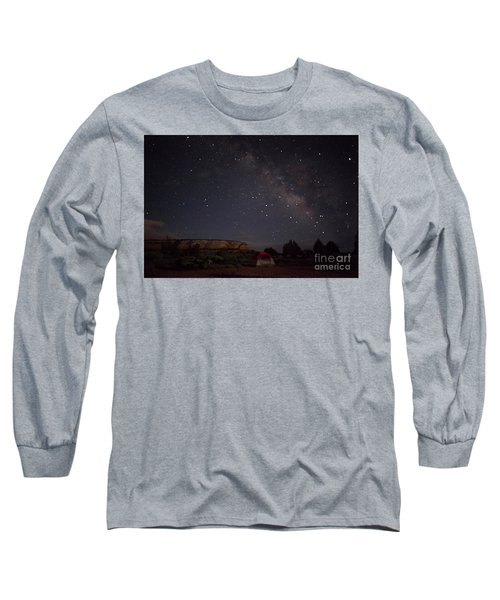 Milky Way Over White Pocket Campground Long Sleeve T-Shirt by Anne Rodkin