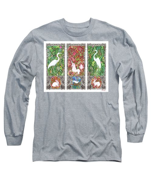 Long Sleeve T-Shirt featuring the drawing Millefleurs Triptych With Unicorn, Cranes, Rabbits And Dove by Lise Winne