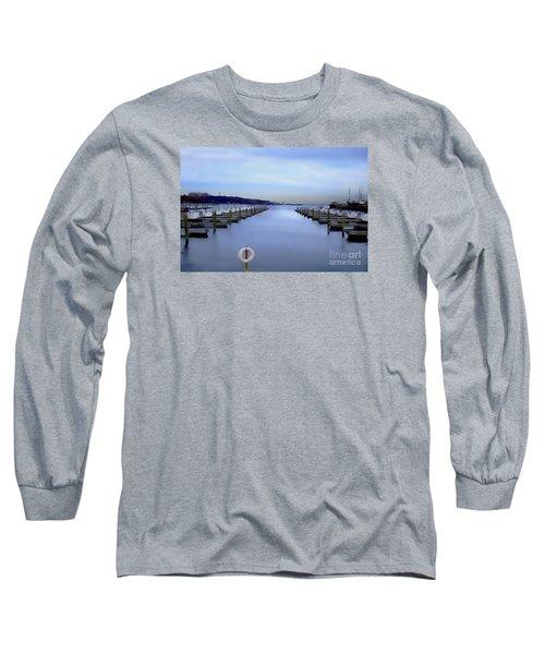 Long Sleeve T-Shirt featuring the digital art Milwaukee Marina November 2015 by David Blank