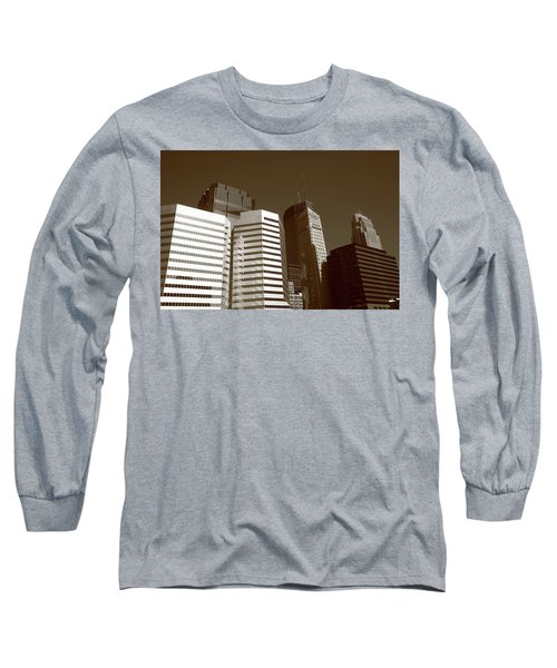 Long Sleeve T-Shirt featuring the photograph Minneapolis Skyscrapers 5 Sepia by Frank Romeo