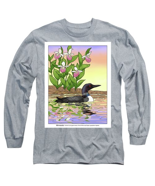 Minnesota State Bird Loon And Flower Ladyslipper Long Sleeve T-Shirt