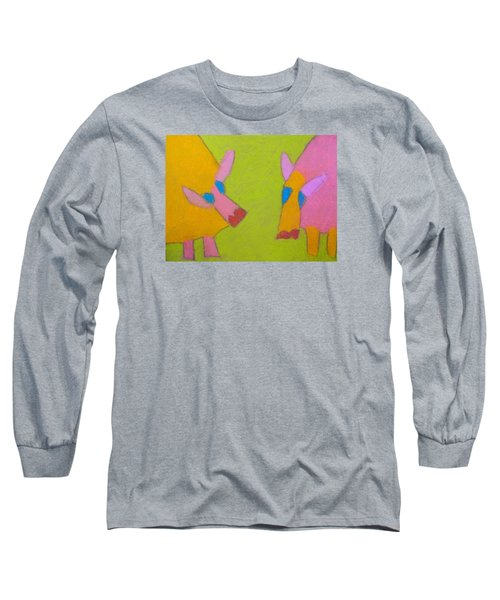 Long Sleeve T-Shirt featuring the pastel Mischievous Pigs by Artists With Autism Inc