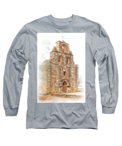 Long Sleeve T-Shirt featuring the photograph Mission San Francisco De La Espada In Faux Pencil Drawing  by David and Carol Kelly