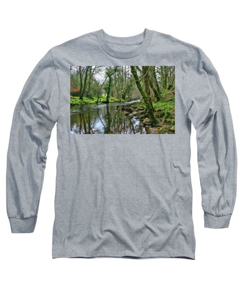 Misty Day On River Teign - P4a16017 Long Sleeve T-Shirt