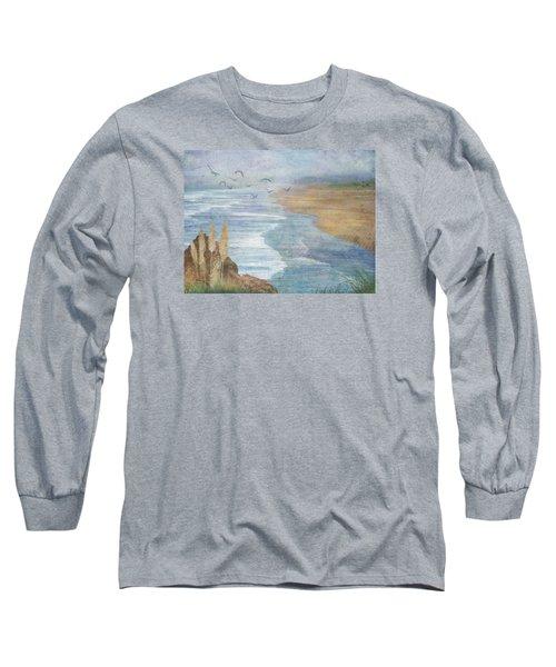 Long Sleeve T-Shirt featuring the digital art Misty Retreat by Christina Lihani