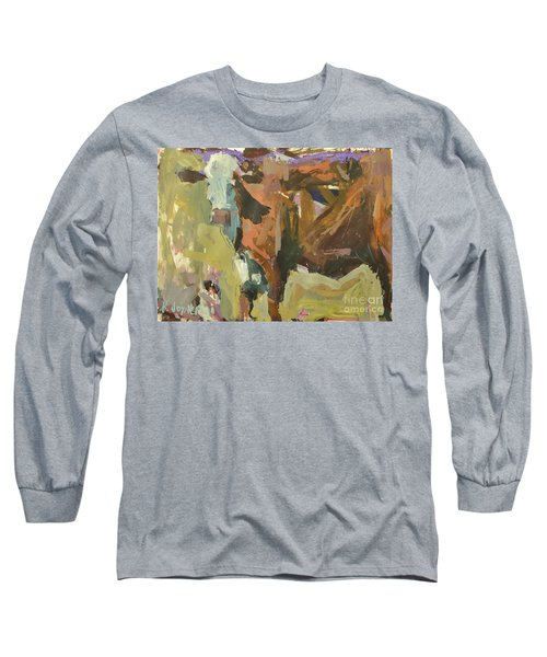 Long Sleeve T-Shirt featuring the painting Mixed Media Cow Painting by Robert Joyner