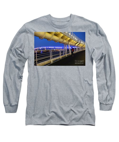 Long Sleeve T-Shirt featuring the photograph Modern Bicycle Overpass By Night by Yali Shi