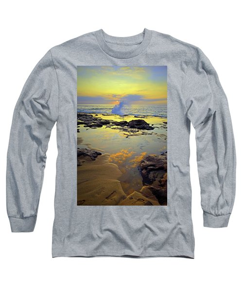 Long Sleeve T-Shirt featuring the photograph Mololkai Splash by Tara Turner