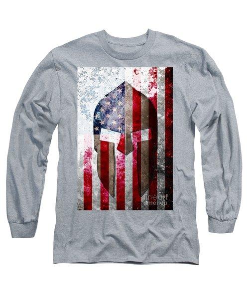Molon Labe - Spartan Helmet Across An American Flag On Distressed Metal Sheet Long Sleeve T-Shirt