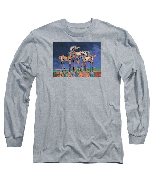 Long Sleeve T-Shirt featuring the painting Mom And Foals by Bob Coonts