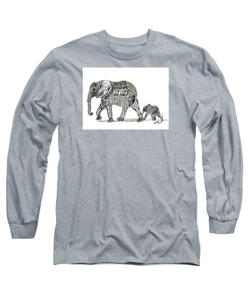 Momma And Baby Elephant Long Sleeve T-Shirt by Kathy Sheeran