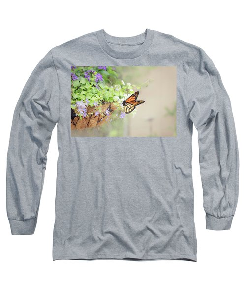 Monarch And Garden Basket Long Sleeve T-Shirt