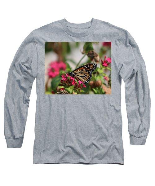 Monarch Butterfly On Fuchsia Long Sleeve T-Shirt