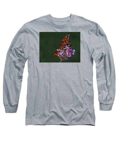 Monarch Butterfly On A Butterfly Bush Long Sleeve T-Shirt