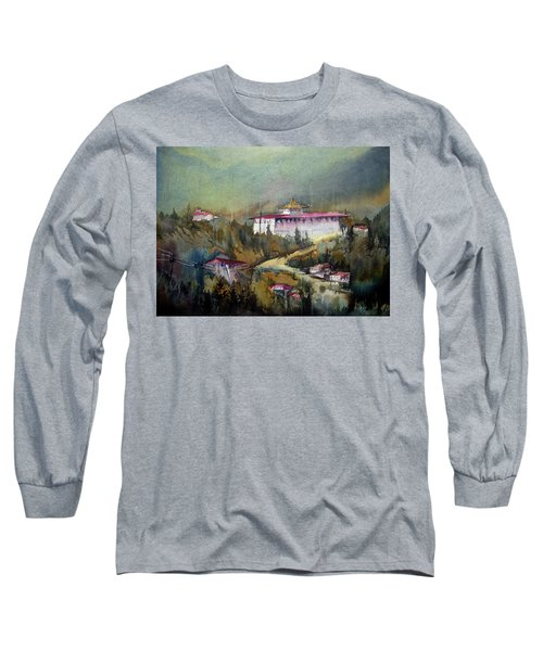 Long Sleeve T-Shirt featuring the painting Monastery In Mountain by Samiran Sarkar