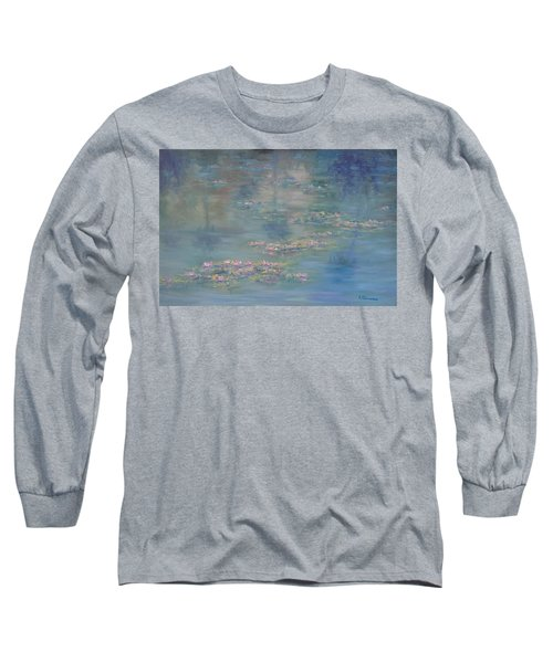 Monet Style Water Lily Peaceful Tropical Garden Painting Print Long Sleeve T-Shirt