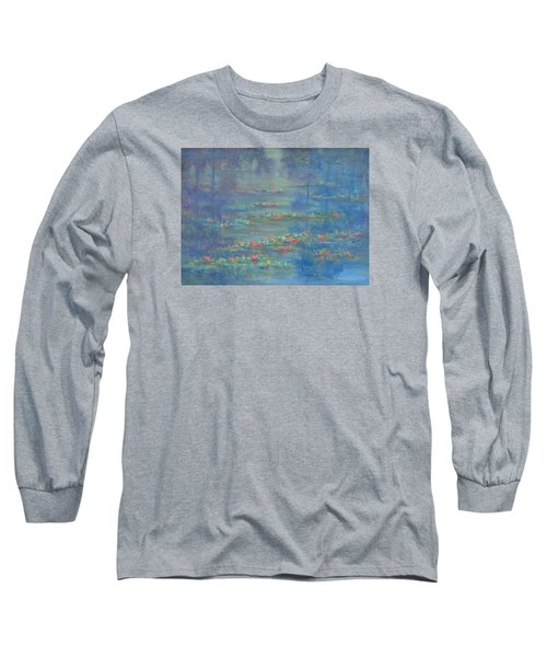 Monet Style Water Lily Pond Landscape Painting Long Sleeve T-Shirt