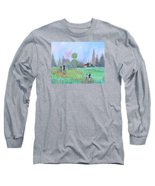 Long Sleeve T-Shirt featuring the painting Monet's Field Of Poppies by Stacey Zimmerman
