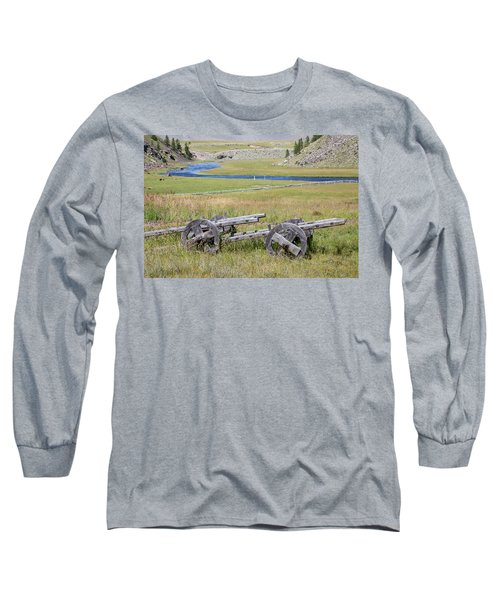 Long Sleeve T-Shirt featuring the photograph Mongolian Ox Carts by Hitendra SINKAR