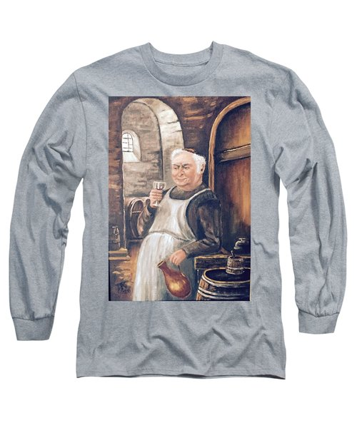 Monk With Wine Long Sleeve T-Shirt