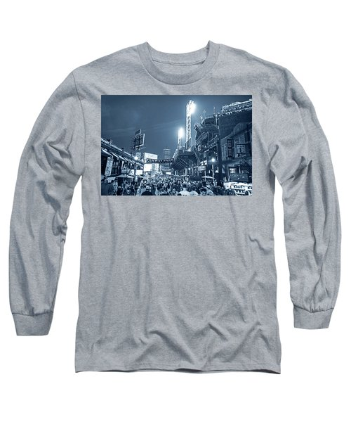 Monochrome Blue Nights Boston Ma Lansdowne St Fenway Park Game Night Long Sleeve T-Shirt