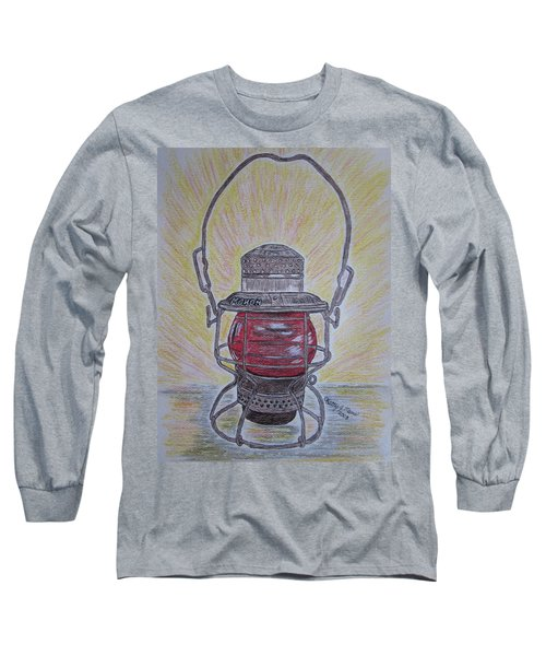 Monon Red Globe Railroad Lantern Long Sleeve T-Shirt by Kathy Marrs Chandler