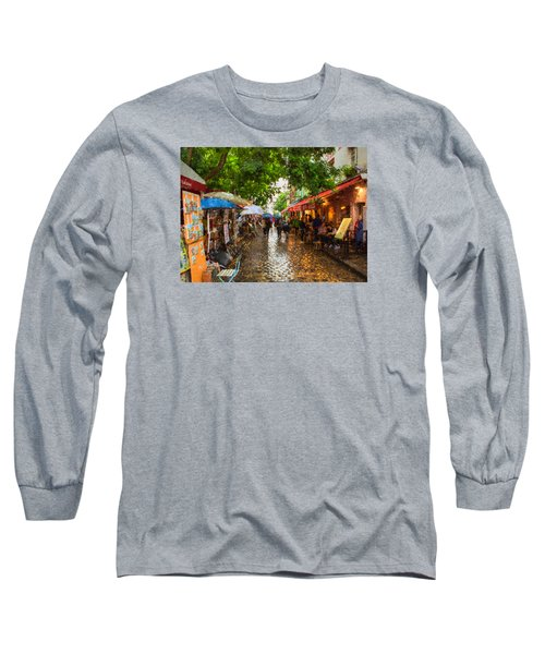 Long Sleeve T-Shirt featuring the photograph Montmartre Art Market, Paris by Carl Amoth