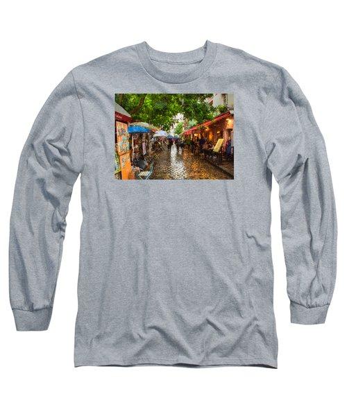 Montmartre Art Market, Paris Long Sleeve T-Shirt by Carl Amoth