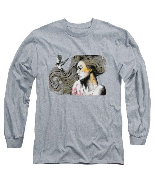 Monument - Long Hair Girl With Bird And Skyline Tattoo Long Sleeve T-Shirt