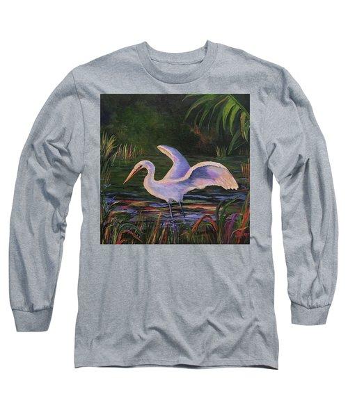 Moonlight Egret Long Sleeve T-Shirt