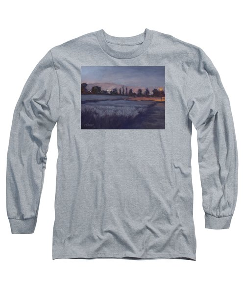 Moonlit Lavender Fields Long Sleeve T-Shirt by Jane Thorpe