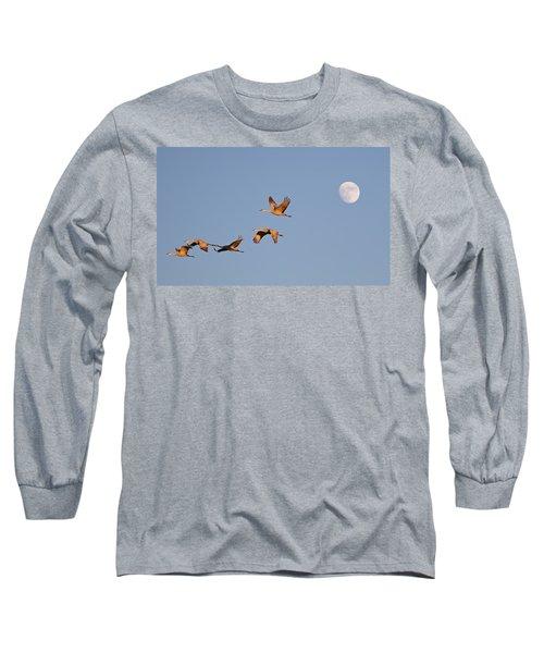 Moonrise Over Bosque Long Sleeve T-Shirt