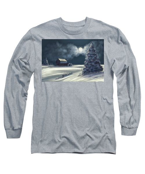 Long Sleeve T-Shirt featuring the digital art Moonshine On The Snow by Lois Bryan