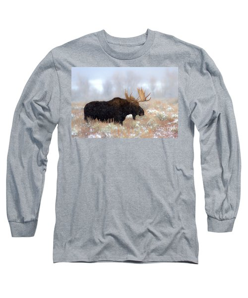 Long Sleeve T-Shirt featuring the photograph Moose In The Fog Silhouette by Adam Jewell