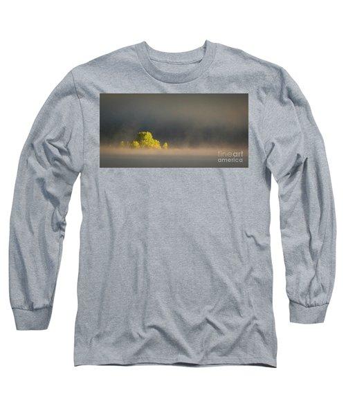 Morning Fog On Jackson Lake Grand Teton National Park  Long Sleeve T-Shirt