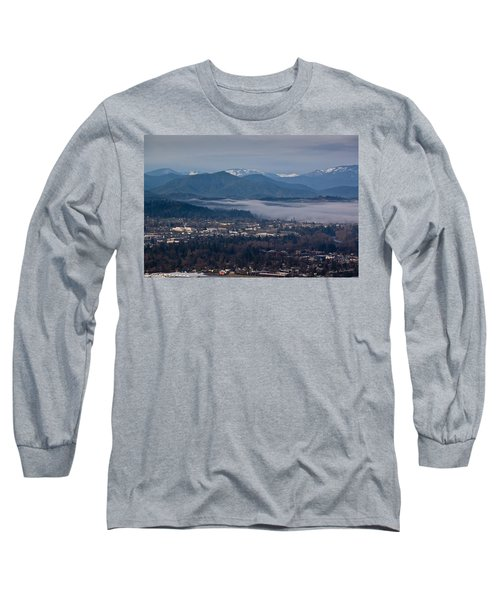 Morning Fog Over Grants Pass Long Sleeve T-Shirt