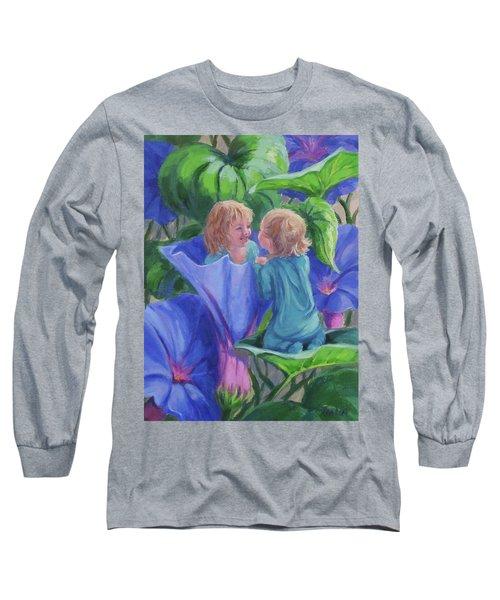 Long Sleeve T-Shirt featuring the painting Morning Glories by Karen Ilari