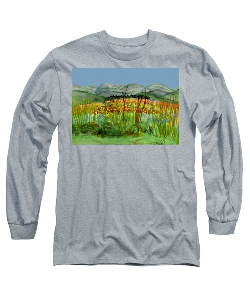 Long Sleeve T-Shirt featuring the painting Morning In Backyard At Barton by Donna Walsh