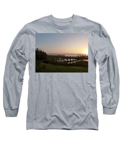 Morning Sunrise Over Assateaque Island Long Sleeve T-Shirt by Donald C Morgan