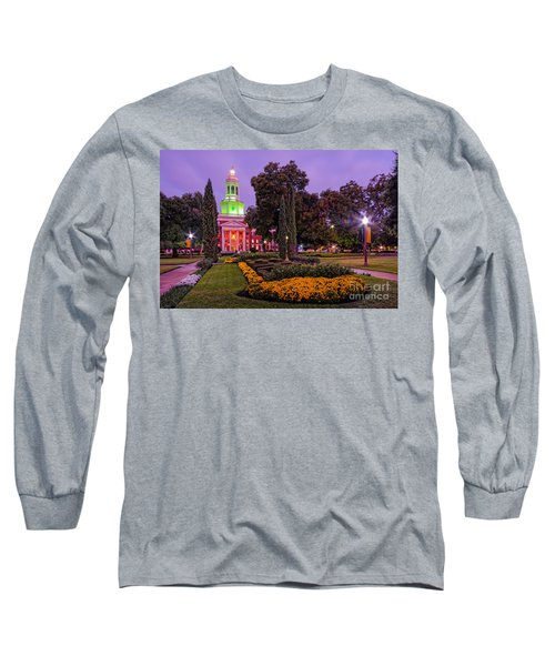 Morning Twilight Shot Of Pat Neff Hall From Founders Mall At Baylor University - Waco Central Texas Long Sleeve T-Shirt