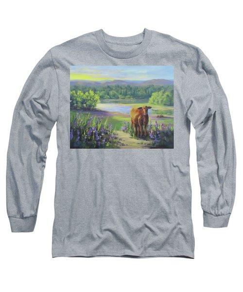 Long Sleeve T-Shirt featuring the painting Morning Walk by Karen Ilari