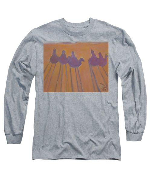 Morocco, Camels, Riders And Shadows. Long Sleeve T-Shirt