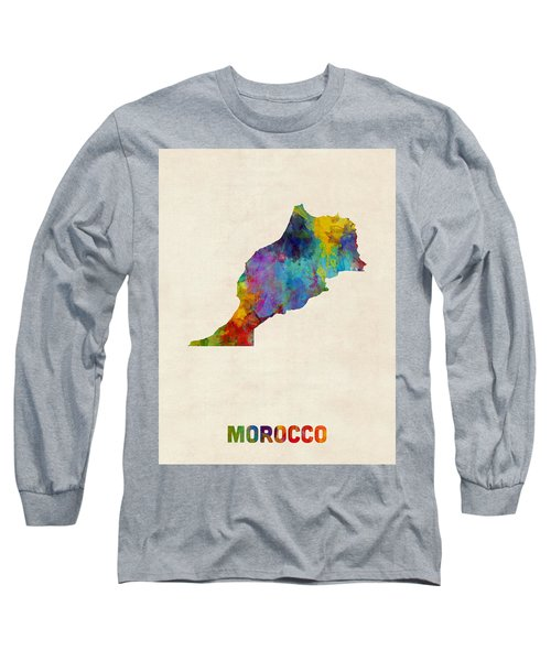Long Sleeve T-Shirt featuring the digital art Morocco Watercolor Map by Michael Tompsett