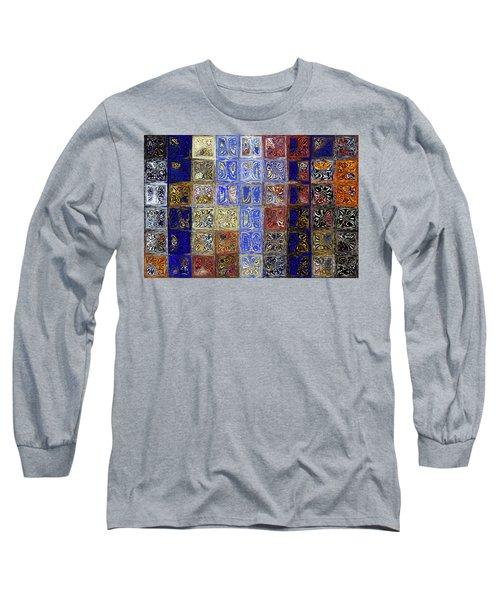 Mosaic Tile Evening Landscape. Modern Mosaic Tile Art Painting Long Sleeve T-Shirt by Mark Lawrence