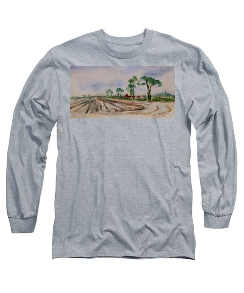 Long Sleeve T-Shirt featuring the painting Moss Landing Pine Trees Farm California Landscape 1 by Xueling Zou