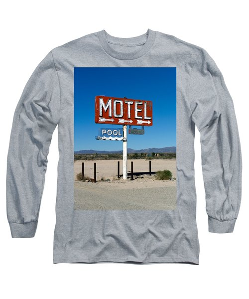 Motel Sign On I-40 And Old Route 66 Long Sleeve T-Shirt
